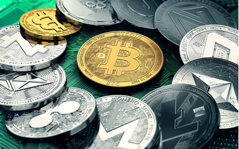 Pile of cryptocurrencies with Bitcoin in the middle